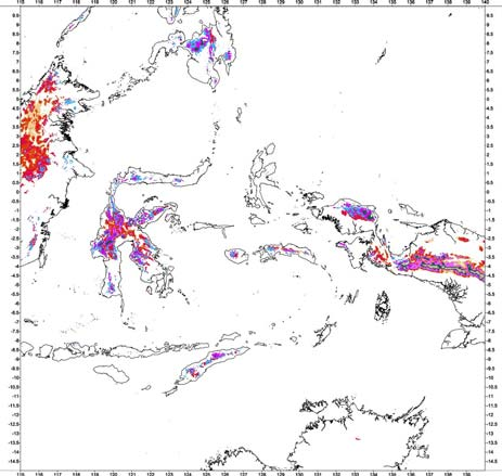 Bouguer gravity anomaly classification of continental collision areas