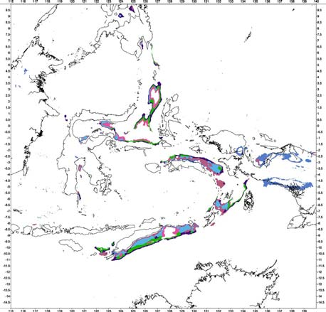 Timor-Tanimbar-Seram Trough(s) foredeep Bouguer gravity anomaly classification