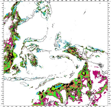 Australian Mesozoic shelf and basin areas Bouguer gravity anomaly classification