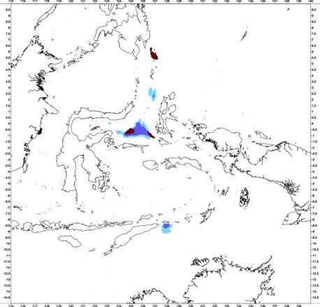 Bouguer gravity anomaly classification of the Molucca Sea oceanic basin