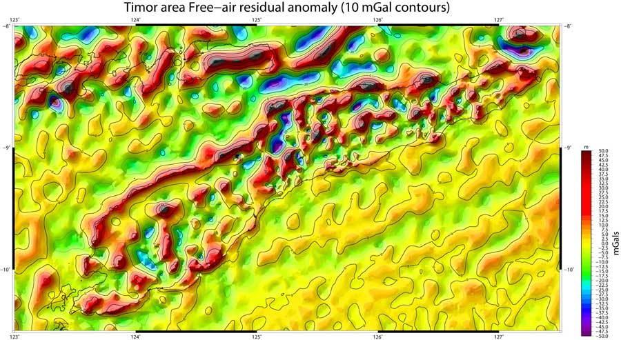 Timor free-air gravity residual anomaly map