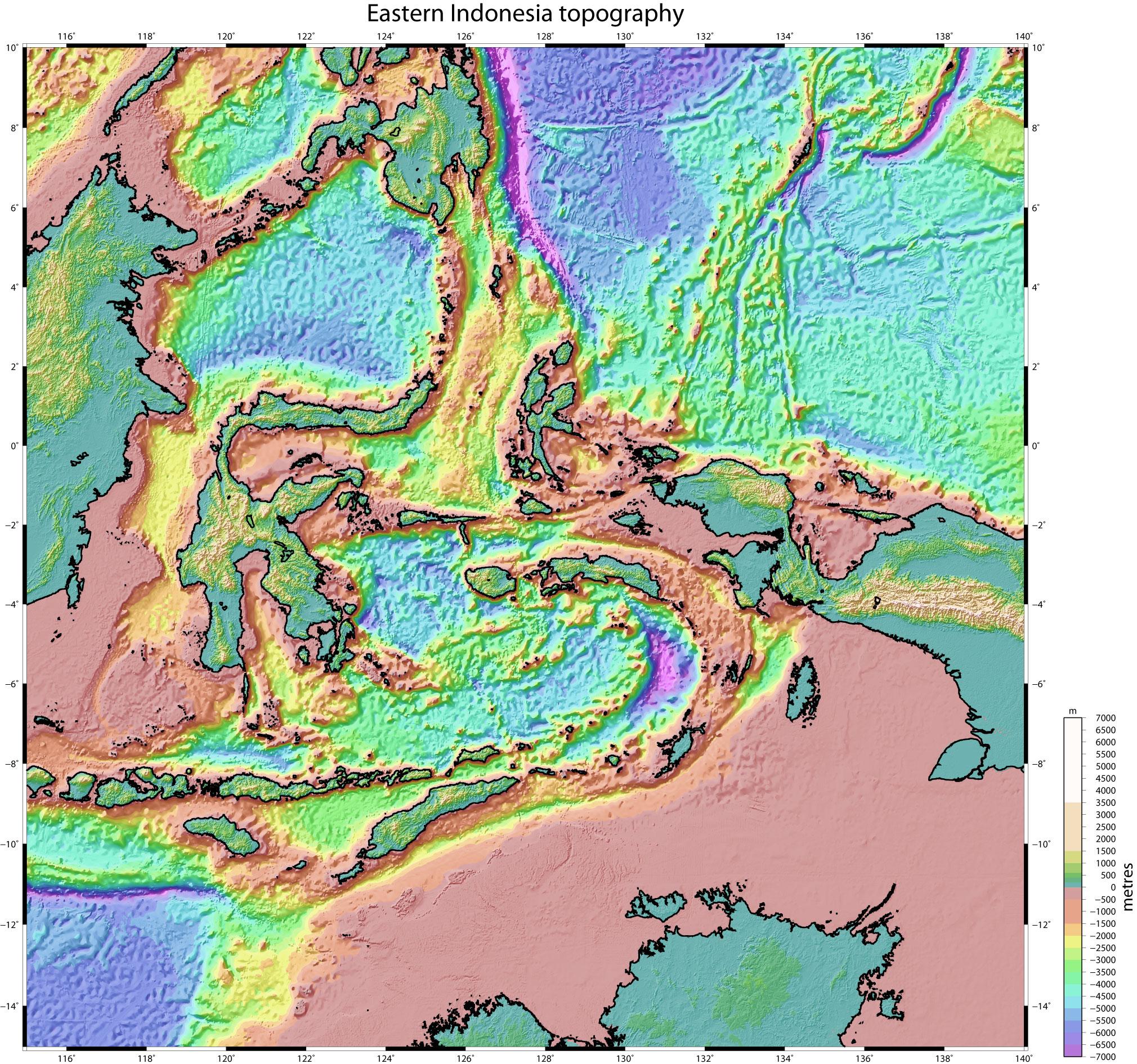 Eastern Indonesia Topographic Maps SRTM Timor Seram Tanimbar Kai - Contour maps online uk
